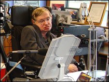 Stephen Hawking in his study