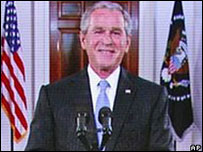 Bush se dirigió a la Convención a través de una video conferencia.