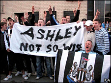 Fans protest outside St James' Park on Thursday night