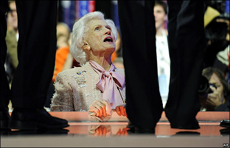 Roberta McCain, mother of John, looks up at him on stage during a rehearsal for his speech on  4 September
