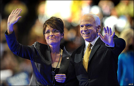 Sarah Palin and John McCain on stage at the Republican Convention