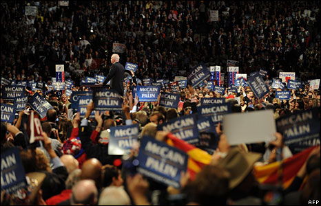 John McCain addresses the Republican convention in St Paul, 4 Sept