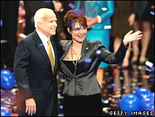McCain and running mate Sarah Palin at Republican convention in St Paul on 4 September 2008