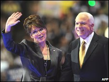 Sarah Palin (L) and John McCain (R)