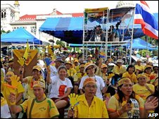 Anti-government protesters stage a demonstration at the Government House in Bangkok on September 5, 2008.