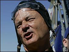 Ghostbusters star Bill Murray, pictured after a recent parachute jump