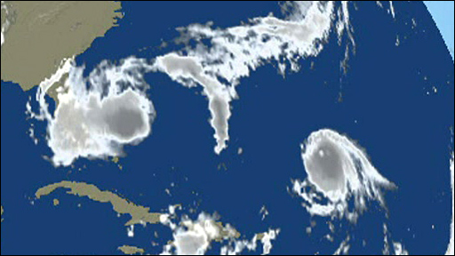 BBC graphic showing tropical storm Hanna