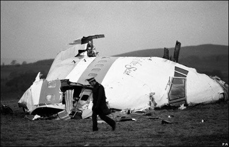 Pan Am Flight 103 remains landed in and around the town of Lockerbie