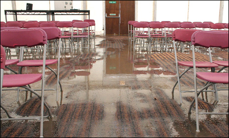 Flooded marquee. Photo: Brian Griffiths Freelance Photography