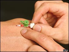 Cannula being inserted in order to take blood
