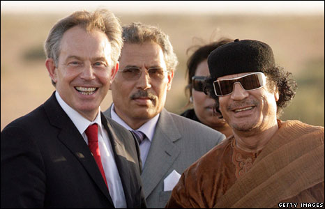 Tony Blair meets Colonel Muammar Abu Minyar al-Gaddafi on May 29, 2007 in Sirte, Libya.