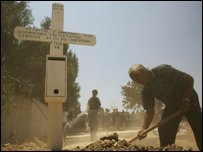 A man shovels dirt into the grave of relatives in southern Cyprus