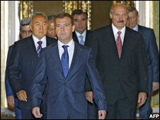 Russian President Dmitry Medvedev with members of the Collective Security Treaty Organisation