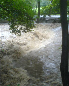 Photo from Andrew Williams of Afon Llwyd river overflowing, Cwmbran,