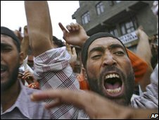 A Kashmiri Muslim shouts pro-freedom slogans during a demonstration against Indian rule in Kashmir, in Srinagar, India, Friday, Sept. 5, 2008