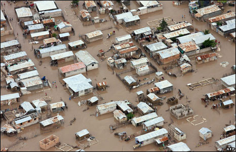 An aerial view of the flooding caused by Hurricane Hanna in Gonaives (Red Cross photo)