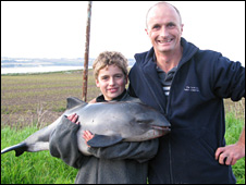 Tom and Donny with the porpoise