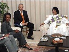Condoleezza Rice meeting Libya's Muammar Gaddafi