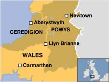 Locator map of Llyn Brianne