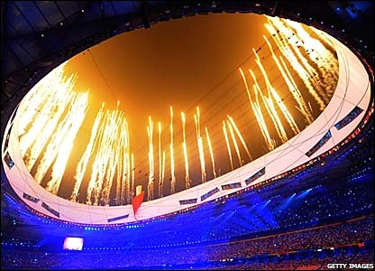 Fireworks mark the start of the opening ceremony of the Beijing Paralympics