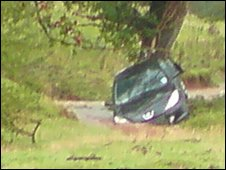 Car swept away in floods at Wooton, Shropshire. Photo by Lucy Yates