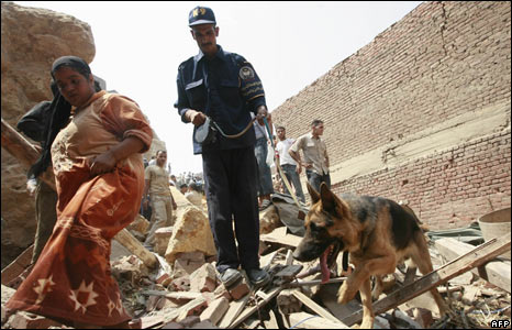 Sniffer dog at Cairo rockslide