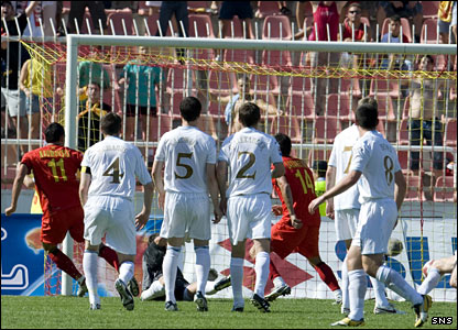 Ilcho Naumoski puts Macedonia 1-0 up against Scotland