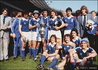 Robson and his Ipswich team celebrate their FA Cup win of 1978 at Wembley Stadium