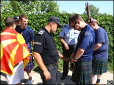 Police with Scotland fans