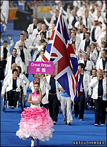 Danny Crates carries the British flag