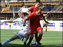 Scotland midfielder Barry Robson in action in Skopje