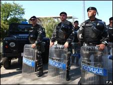 Macedonian riot police