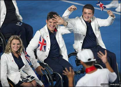 GB's Paralympians at the opening ceremony