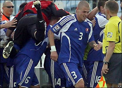 Slovakia celebrate their opening goal