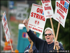 Machinists Union members man the picket line