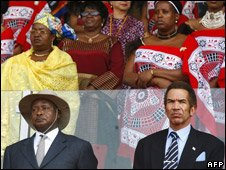 President of Uganda Yoweri Moseveni and President of Botswana Ian Khama