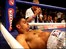 Amir Khan hits the deck for the second and final time