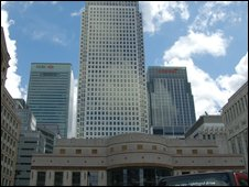 Offices of leading banks in the Docklands