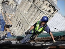 Craftsman on Canterbury Cathedral roof