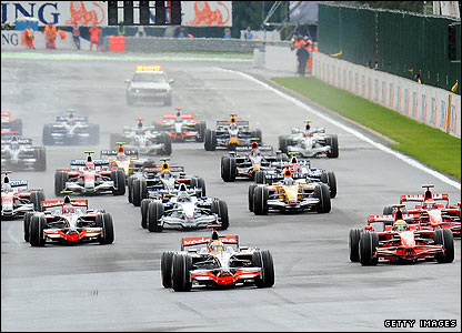 Lewis Hamilton leads at the start