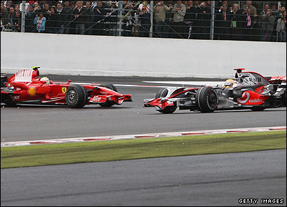 The damp track conditions get the better of Hamilton as he spins at La Source