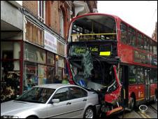 Damaged bus.  Pic: Dave Steiert