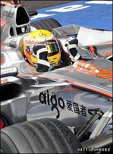 Hamilton returns to the paddock in jubilant spirits