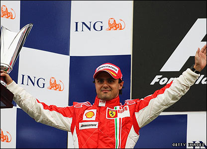 Massa celebrates his initial second place on the podium