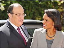 Condoleezza Rice and Moroccan foreign affairs minister Taieb Fassi Fihri  in Rabat