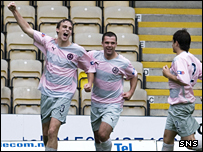 Marc Twaddle celebrates Partick Thistle's second goal