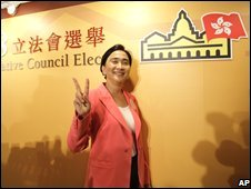 Pro-democracy candidate Emily Lau of The Frontier Party celebrates