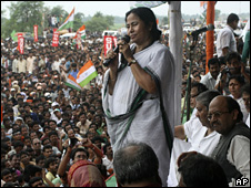 Mamata Banerjee at the protest outside Nano plant