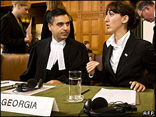 Georgian Justice Minister Tina Burjaliani (right) at the ICJ on 8/9/08