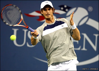 Andy Murray in action against Stanislas Wawrinka